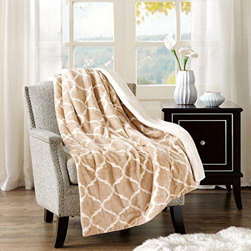 Microlight To Lammfell Wohndecke Kuscheldecke Wolldecke Ornament Flauschig Super Weich Warm 127x152cm Ornament Khaki Sofa Couch Bed Throw Blanket Cozy Sofa