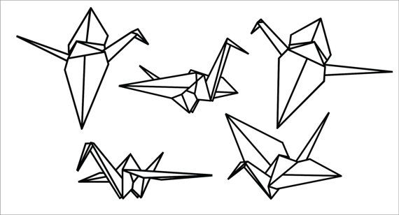 origami crane coloring pages   Origami Crane Vinyl Wall Decals in 2019   Tattoos and ...