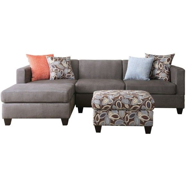 Bobkona Poundex Simplistic Collection 3-Piece Sectional Sofa with... (€405) ❤ liked on Polyvore featuring home, furniture, charcoal gray sectional, charcoal grey sectional, dark grey furniture, dark gray sectional and charcoal sectional