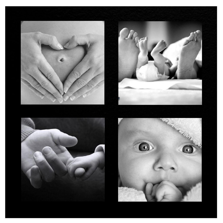 Faire part de naissance noir et blanc