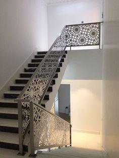 Laser Cut Handrail | 1 | Stair railing design, Stair railing