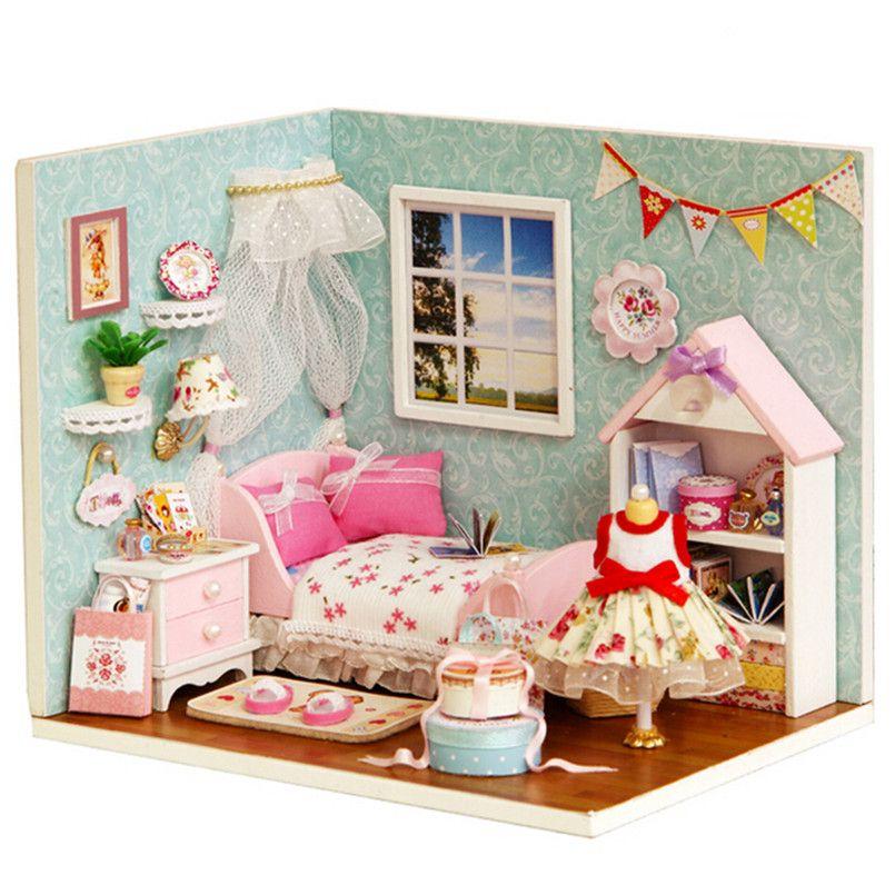 Günstige Kreative Dekoration Handwerk 3D DIY Dollhouse Lustige Holz Puppenhaus  Miniatur Puppenhaus Mit Mu0026ouml;bel