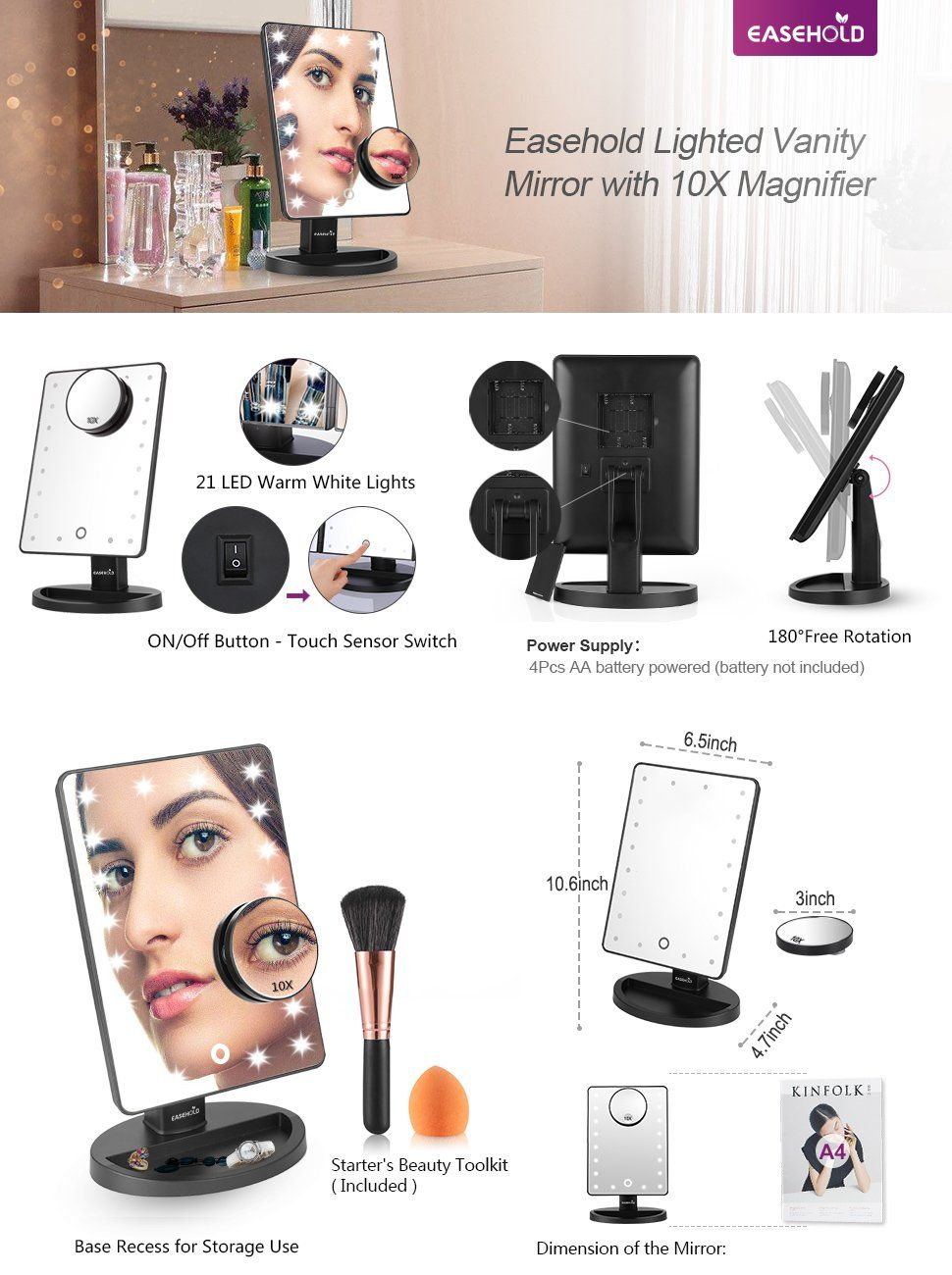Easehold Lighted Makeup Vanity Mirror with 10X
