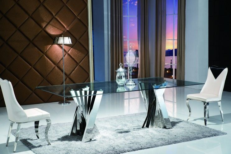 Plisset Large Glass Dining Table Dining Table Glass Dining