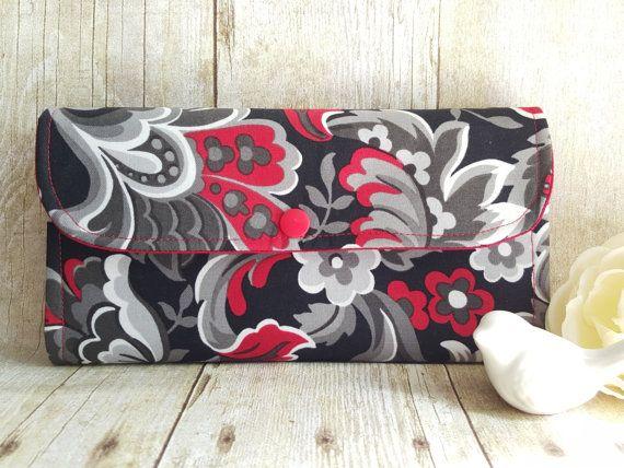 Deep Red Black Greys Floral Accordion Womans by BirdsandBagz