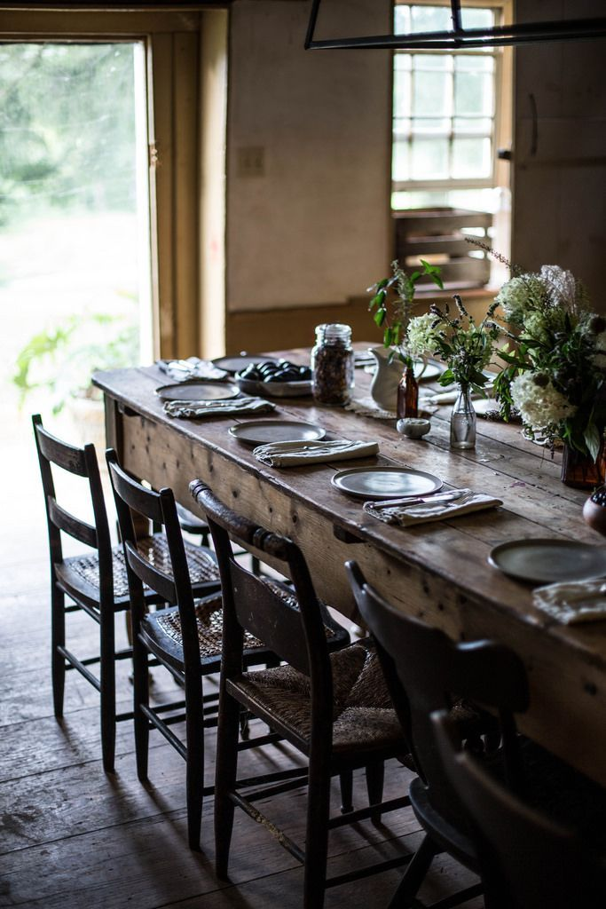 These Tings Take Time Farmhouse Chic Dining Room Cottage Dining Rooms Rustic Dining Room Table Cottage retreat dining room furniture
