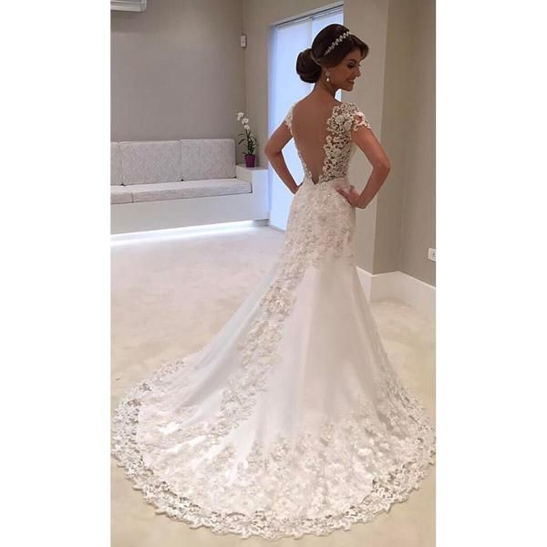 Fansmile Illusion Vestido De Noiva White Backless Lace Mermaid Wedding Dress  2018 Short Sleeve Wedding Gown Bride Dress FSM-453M 055c677b6029