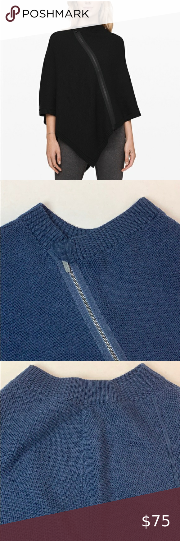 Lululemon EUC On the Go Navy knit poncho OS in 2020