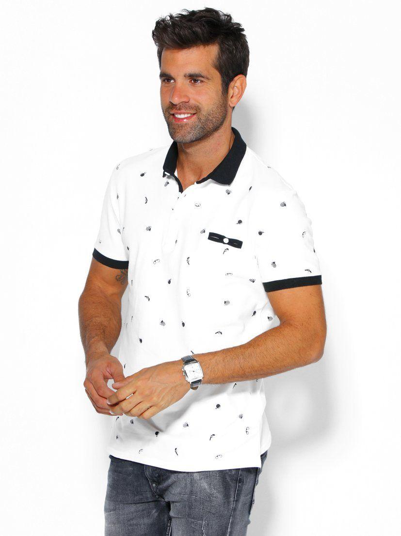 Camiseta polo de hombre estampado army con bolsillo de ojal  06102c29dcbee