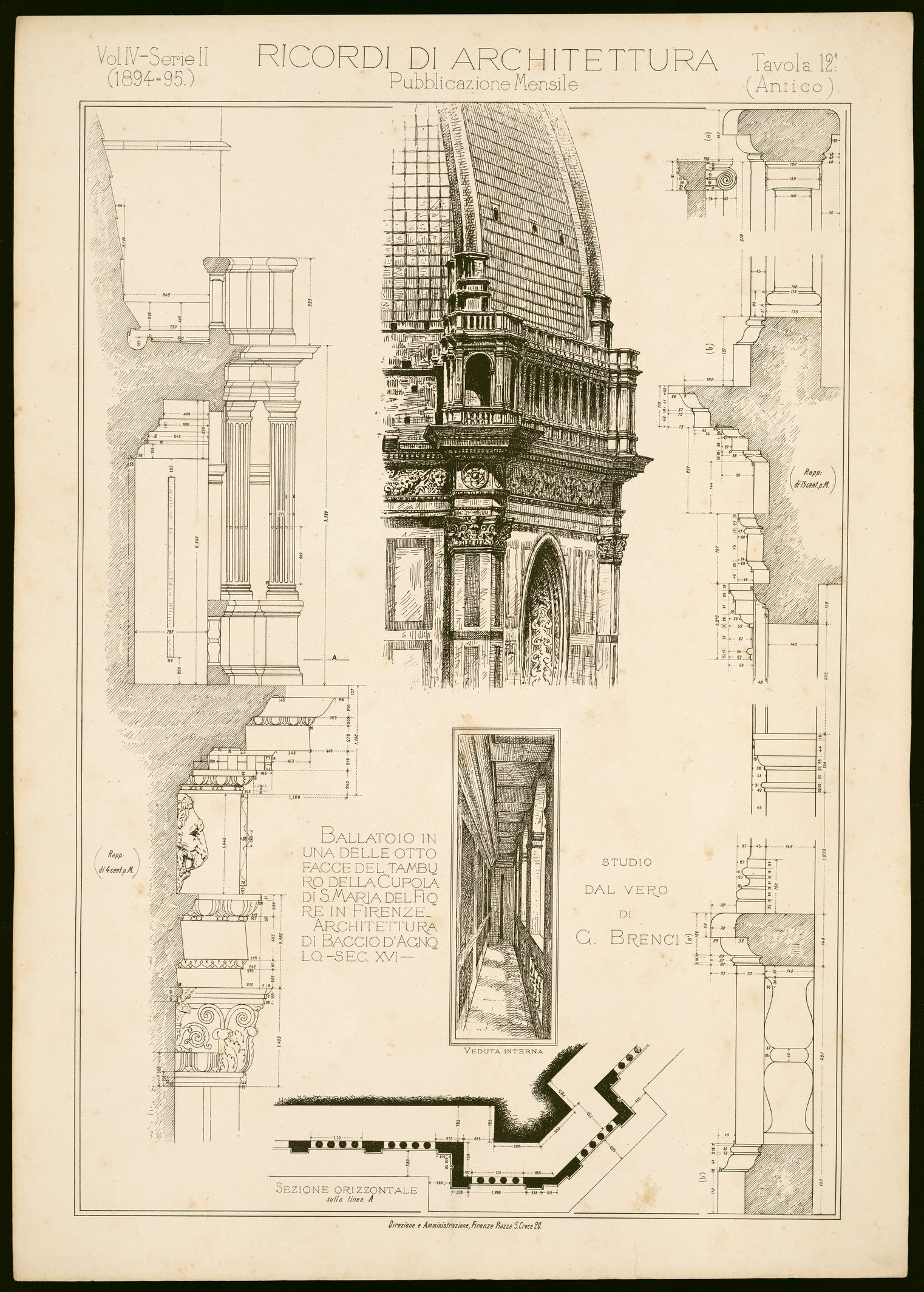 ballatoio in una delle otto facce del tamburo della cupola di s maria del fiore in firenze architettura di baccio d agnolo sec xvi veduta  [ 1522 x 2128 Pixel ]