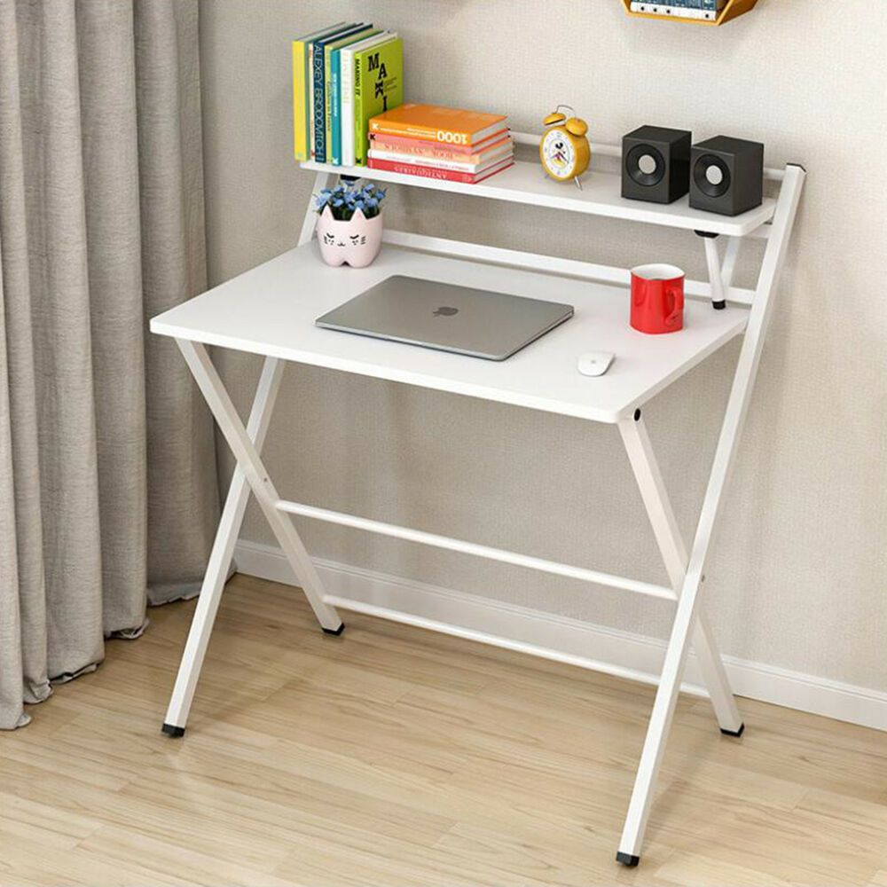 White Foldable Computer Desk Folding Laptop Pc Table Home Office