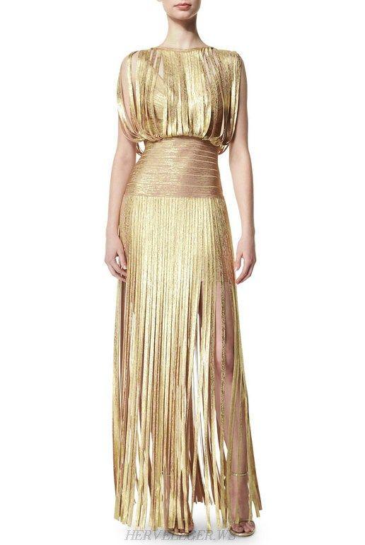 Herve Leger Gold Fringe Woodgrain Foil Gown | Herve Leger Sale ...