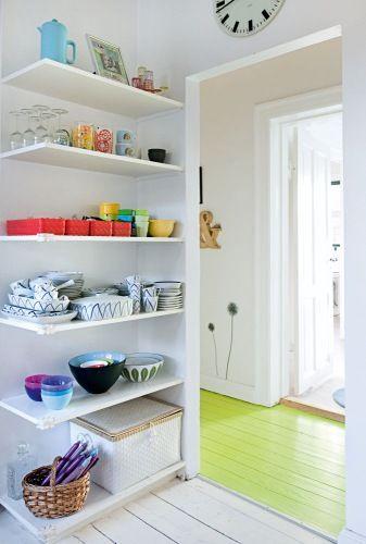 Love the acid green floorboards.