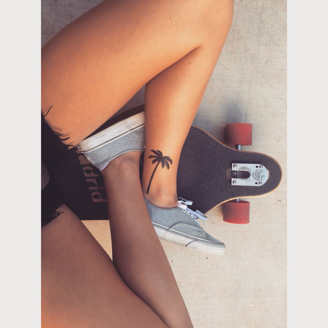 Palm tree tattoo ankle small tattoos pinterest for Small ass tattoos