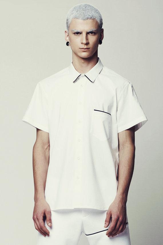 f1af48c78fa Mens Shirt Mens White Dress Shirt Short Sleeve Button Down Button up ...