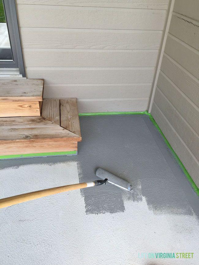 Painted Concrete Patio Makeover   Backyard Ideas ...