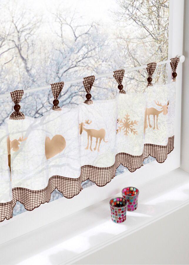 Dekoration Mit Herz Scheibengardine Elch Im Winterlichen Gewand Ad Printed Shower Curtain Shower Curtain Prints