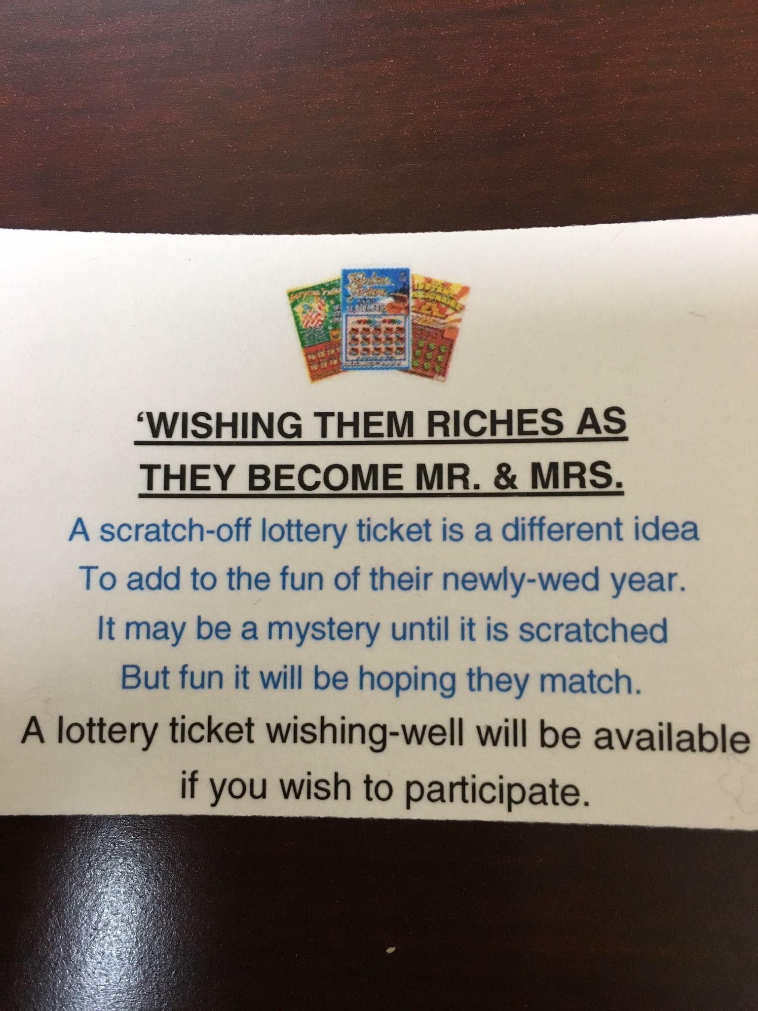 Lottery ticket wishing well idea so