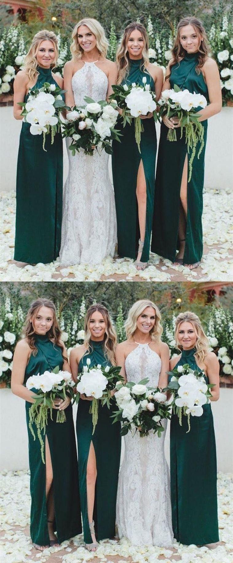 Elegant High Neck Dark Green Long Bridesmaid Dresses Formal Evening Dresses For Women Dr Green Bridesmaid Dresses Dark Green Bridesmaid Dress Green Bridesmaid