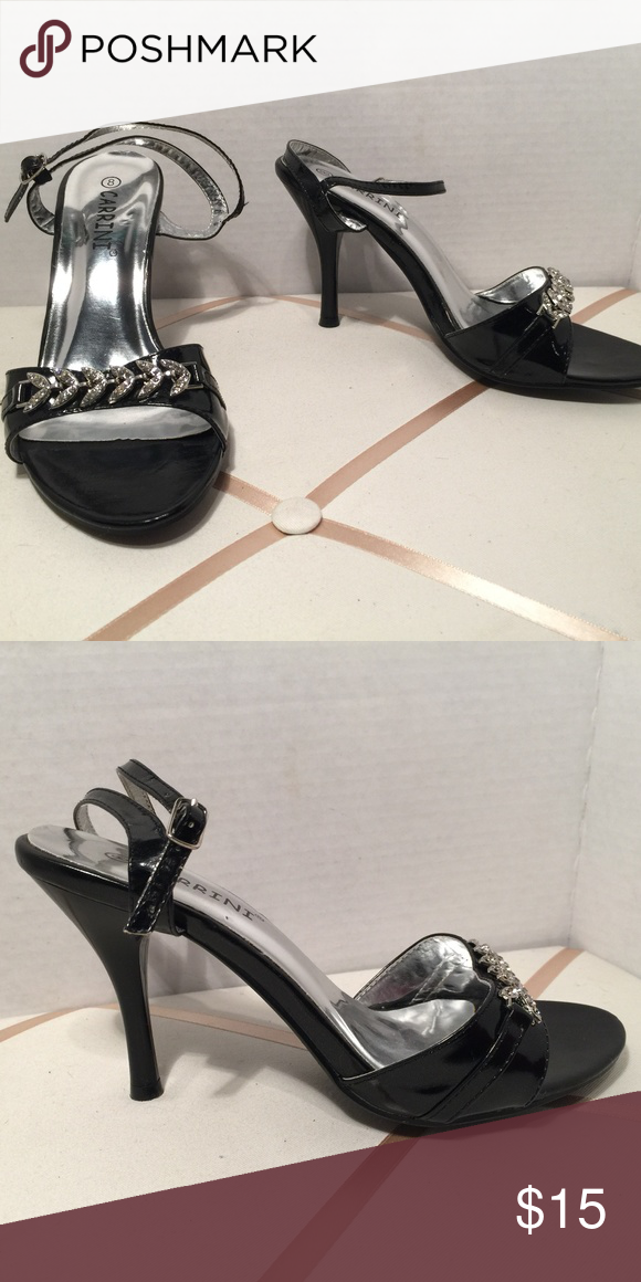 907c970110a6e Carrini Heels Carrini Black Patent Leather Rhinestone Embellished Sandal  Carrini Shoes Heels