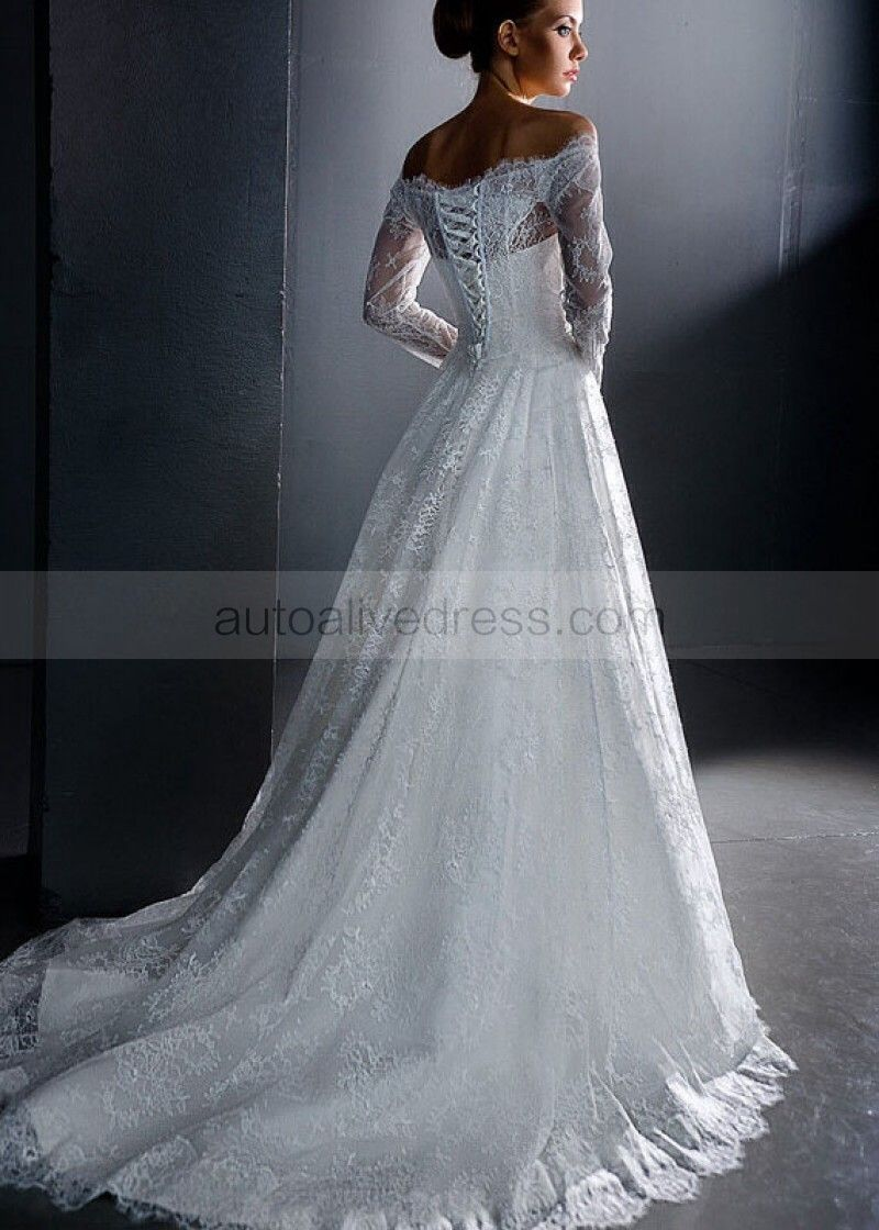 A-line Ivory Lace Off Shoulder Long Sleeves Corset Back Beaded Sash ...