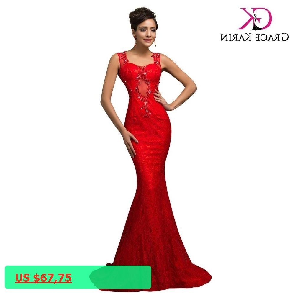 Sexy red mermaid evening dresses lace elegant grace karin