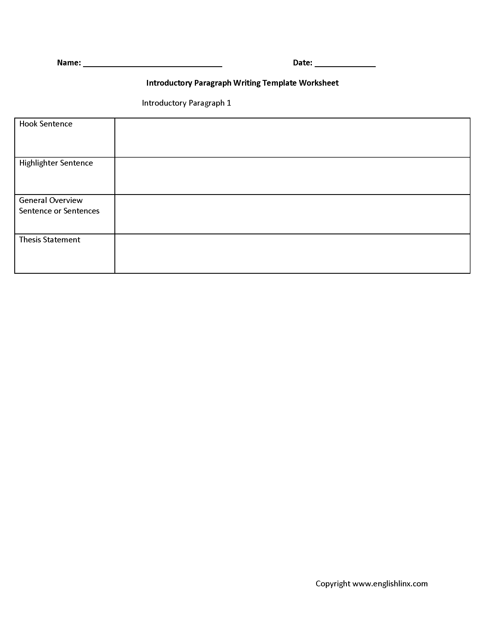 Introductory Paragraph Writing Template Worksheet