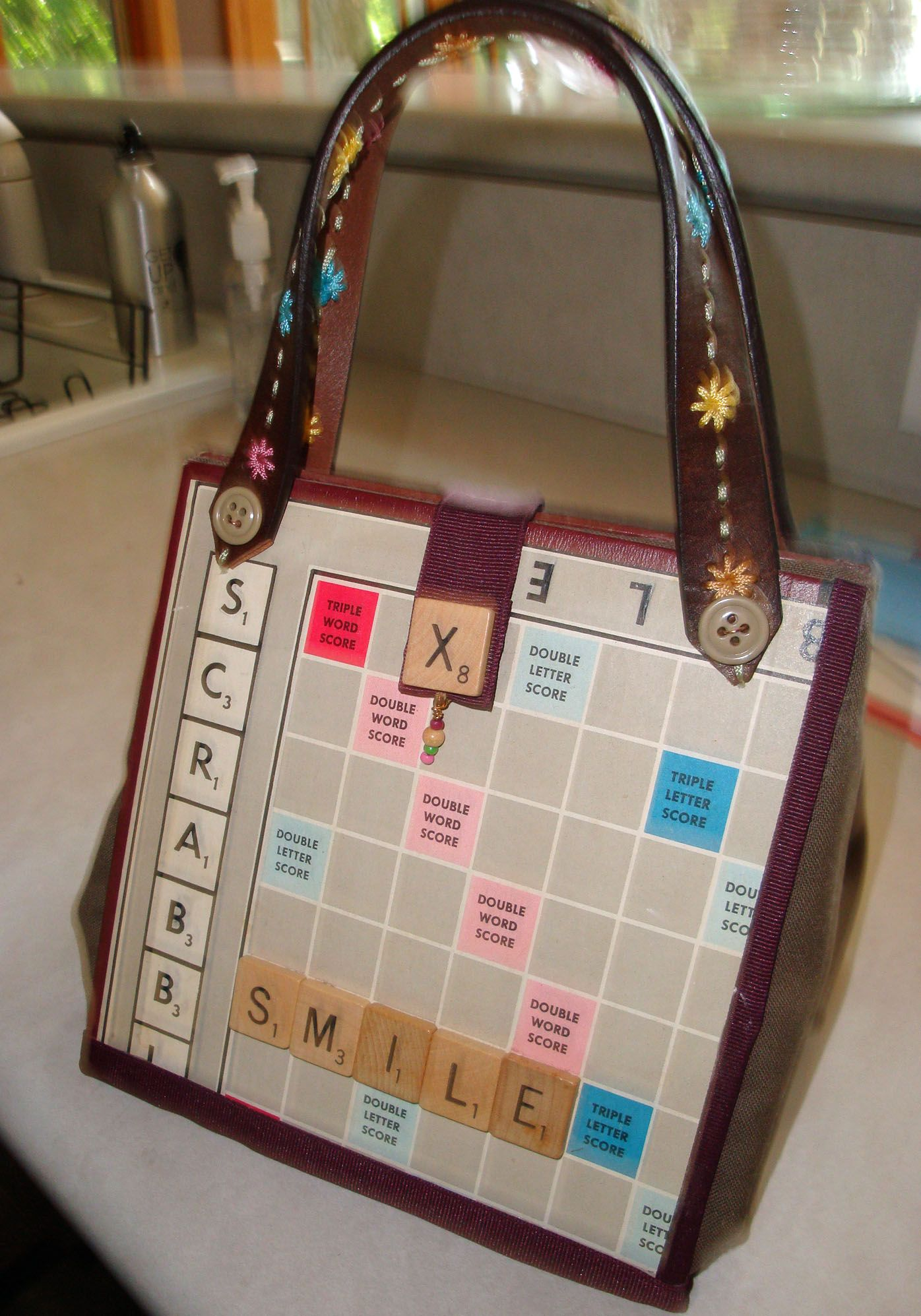 Contemporary purse made from an old scrabble game