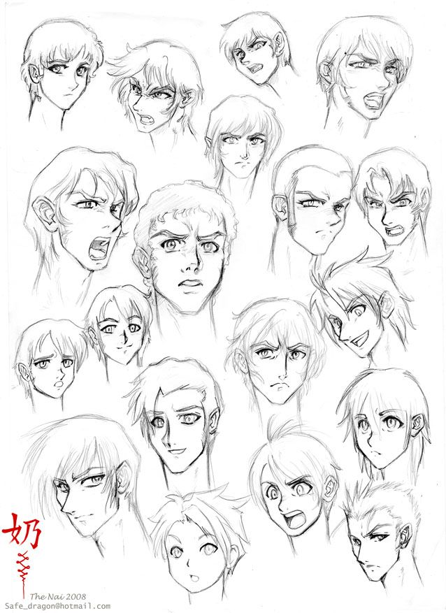 Study Faces And Hair Male Anime Male Face Anime Face Drawing Anime