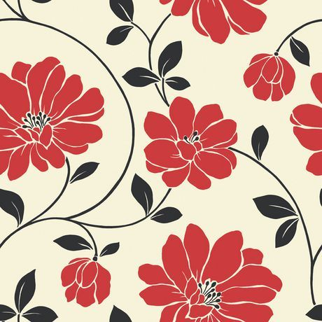 Mega Flowers Sidewall Red Wallpaper For Sale At Walmart Canada Buy Home Pets Online