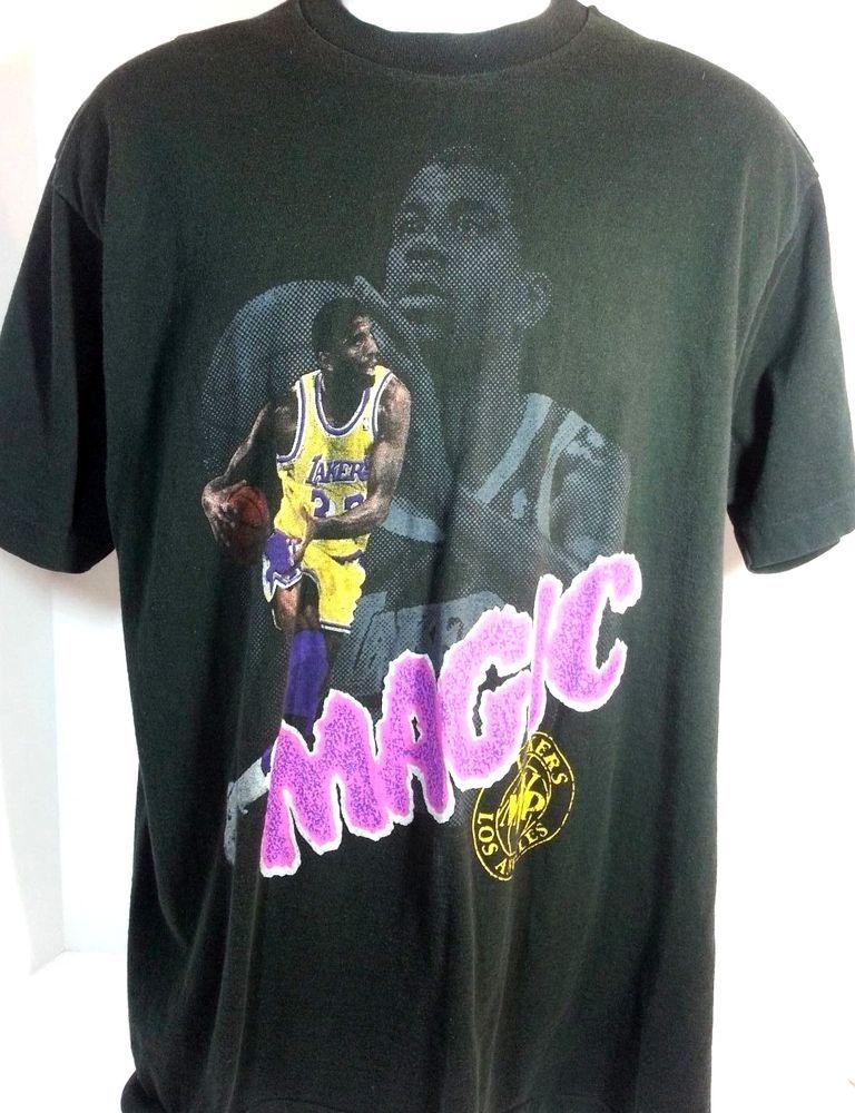 the latest 4bd96 86808 Details about Vtg 90s Magic Johnson LA Lakers T Shirt Size M ...