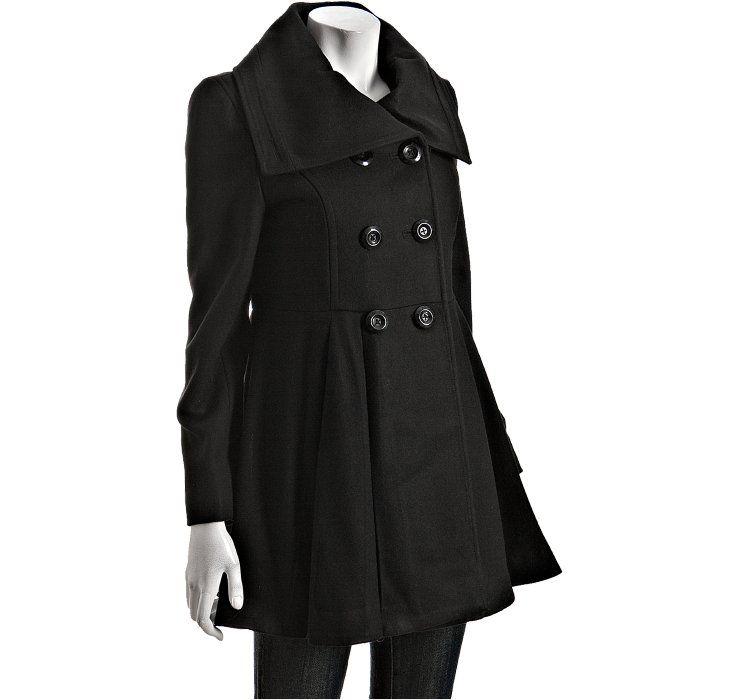 Betsey Johnson black wool blend babydoll pleated coat