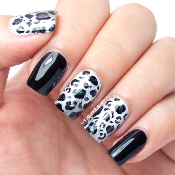 Black White Nail Art Design Ombre Leopard Print Black And White Nail Art Animal Print Nails Cheetah Nails