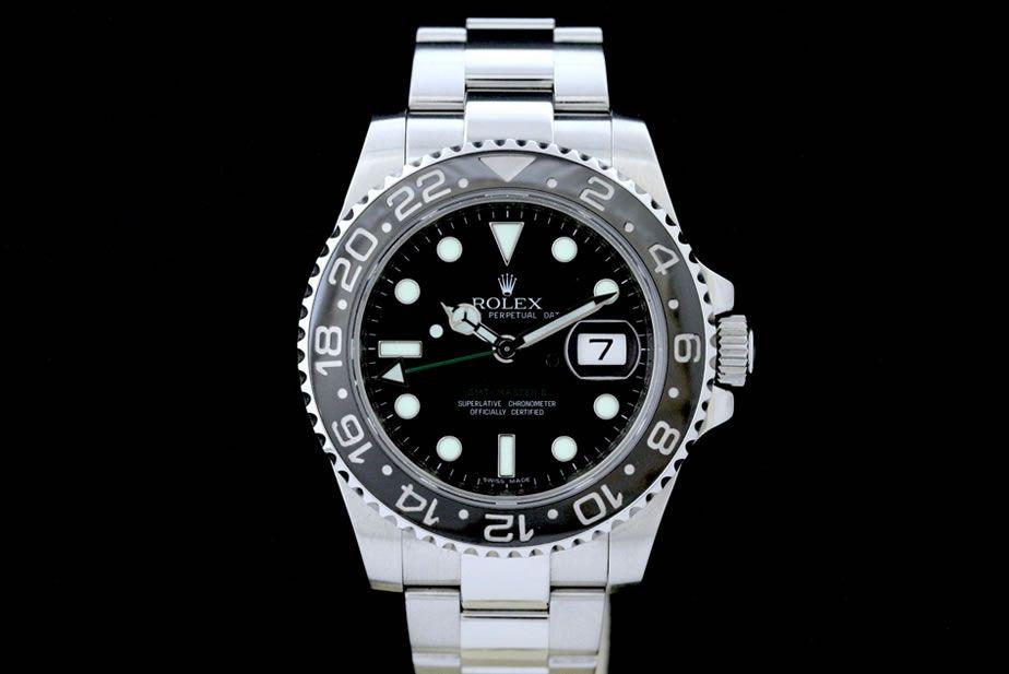 Rolex GMT-Master II mit Box & Papieren aus 2007  Oyster-Band, Schwarzes Zifferblatt, Schwarze Keramik Lünette  Referenz: 116710LN | Z-Serie| LC-100 | Ø 40 mm  http://www.juwelier-leopold.de/uhren/rolex/gmt_master_2.html
