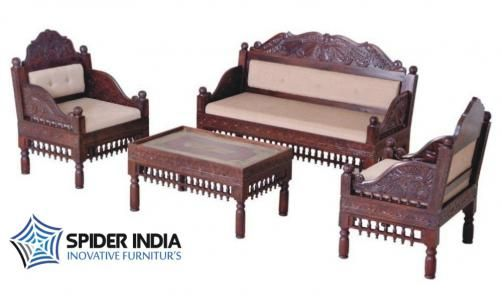 Teak Wood Carved Sofa Set in Mumbai-  Rajasthani Carved