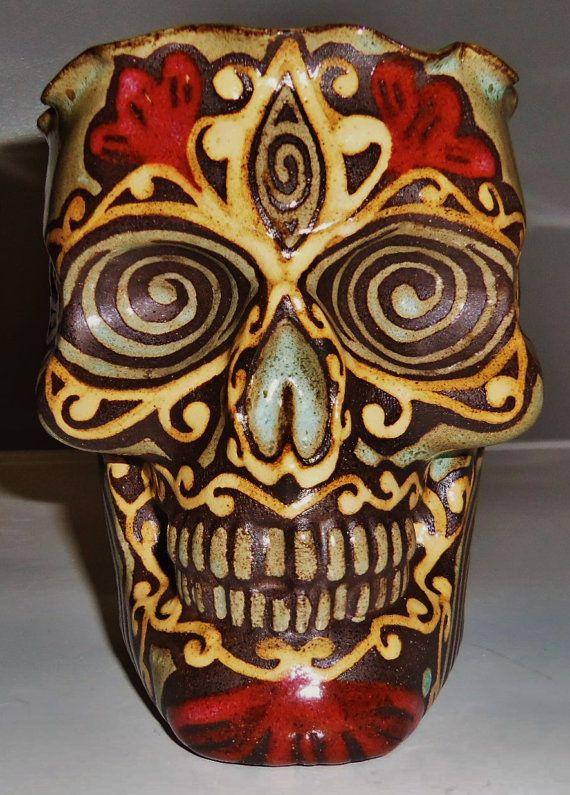 Encrypted Eye Pretty handmade Sugar Skull Wall by LeavesofRed, $65.00