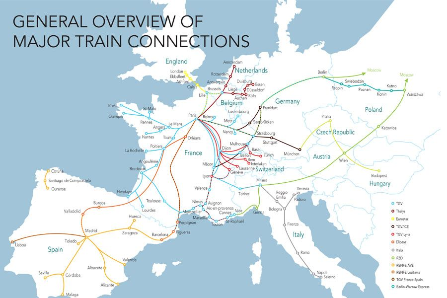 European Train Network Map Voyages Sncf Com Europe Train