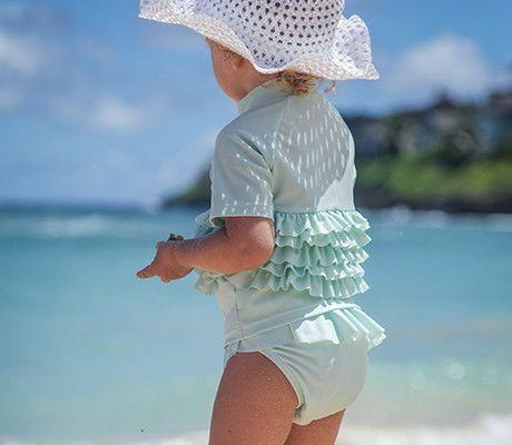 SwimZip Little Girl Mint Chip Rash Guard Swimsuit Set
