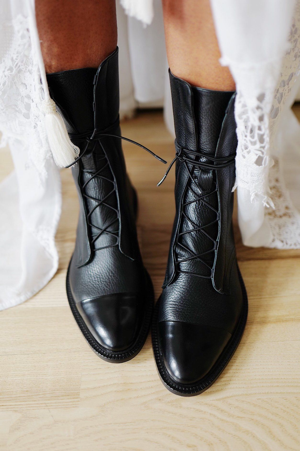 Leather Brogue Boots in 2020 | Boots, Black boots, Leather