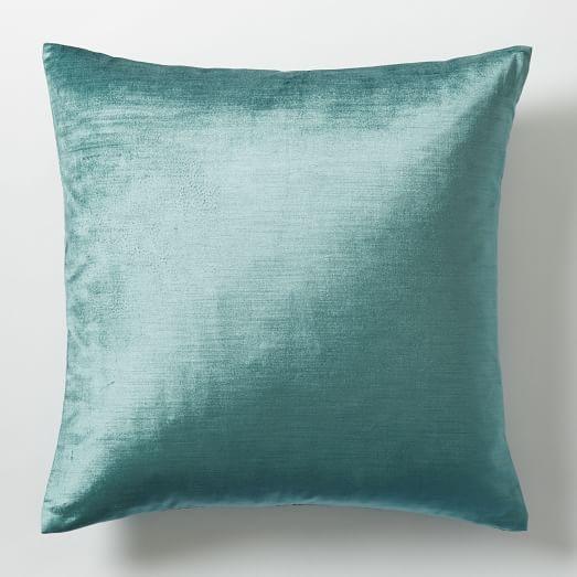 cotton luster velvet pillow cover peacock west elm. Black Bedroom Furniture Sets. Home Design Ideas