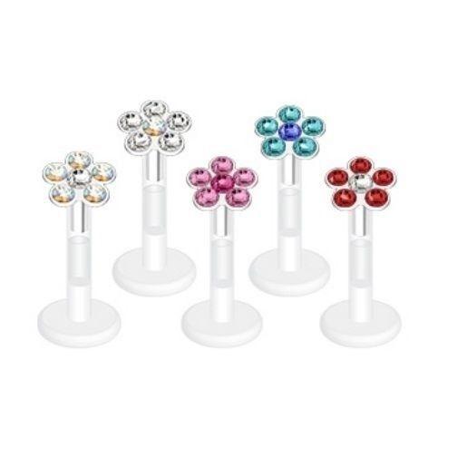 Details About 6 Gem Flower Cz Stones Lip Ring Labret Monroe Bioflex