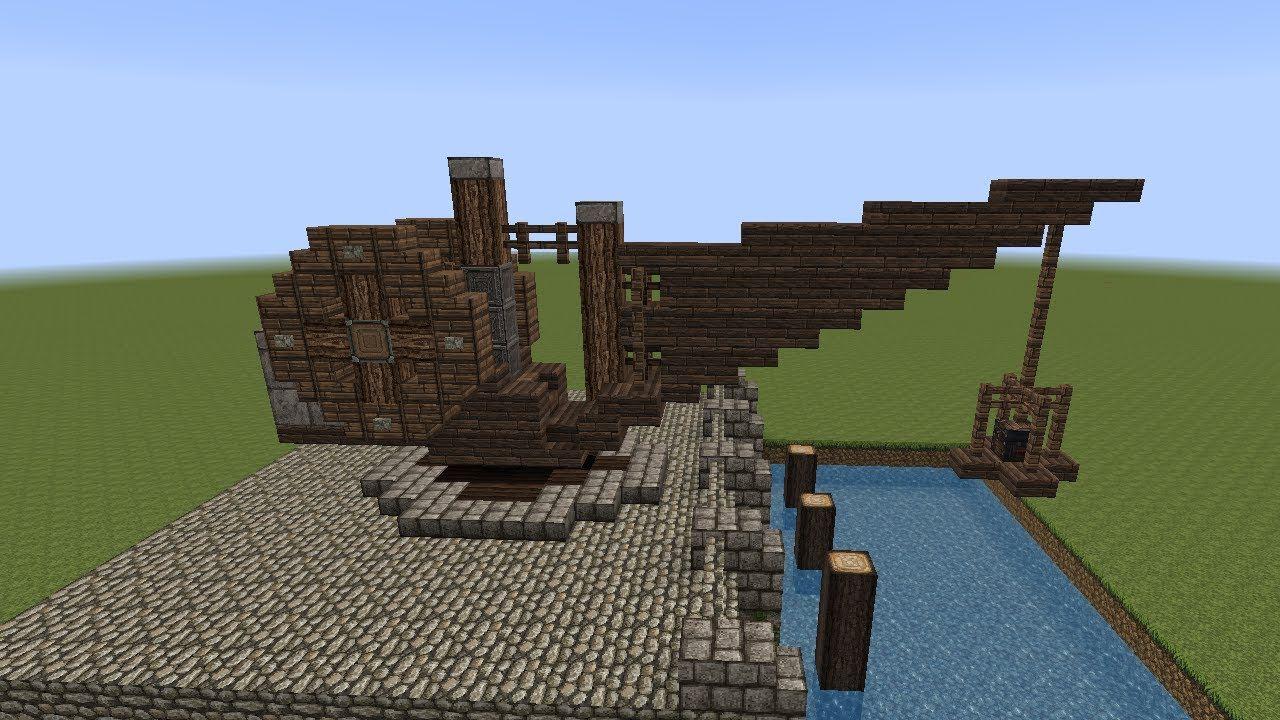 Minecraft Tutorial Einen Hafenkran Bauen Build A Crane Medieval - Minecraft altmodische hauser bauen