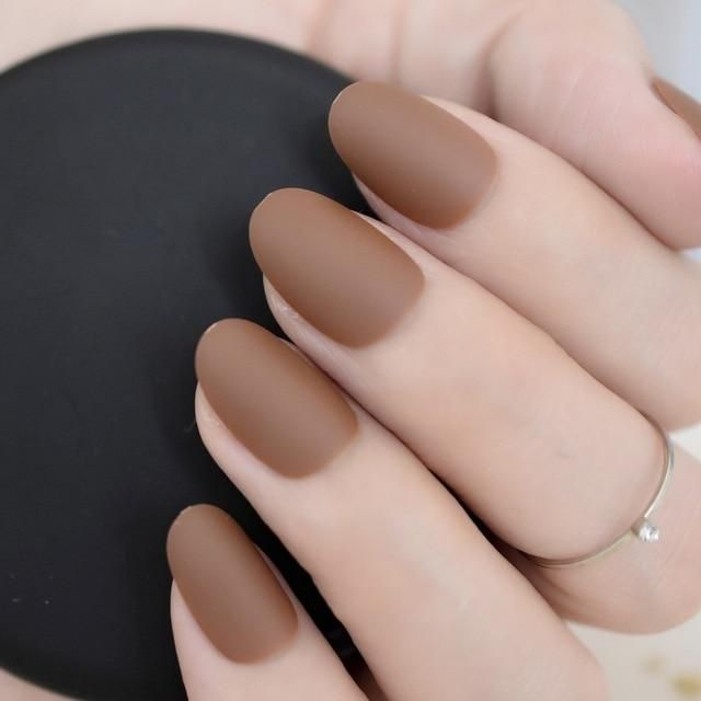 Satin Glossy Color Nails Oval Short Light Brown Fake Nails Kit Super Natural Shape Nail Art Manicure Tips Perfect For Daily Nail Kit Nail Art Manicure Fake Nails