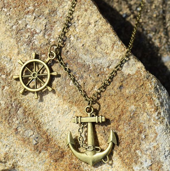 New Antiqued Bronze Nautical Anchor & Ship Rudder Wheel Statement Pendant Necklace by Mariposa Medley Jewelry