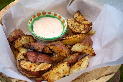 Potato Wedges with Buffalo Blue Dip