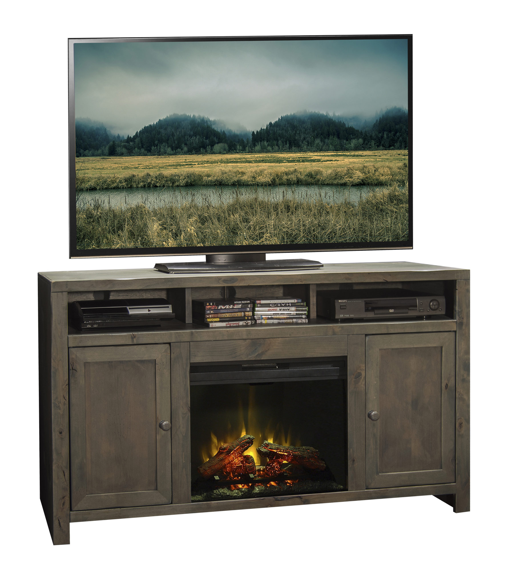 Montgomery 26in electric fireplace and tv stand cherry 26mm2490 c233 - Fireplace Console Legends Home Gallery Stores