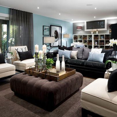 living room decorating ideas - black leather couch | basement