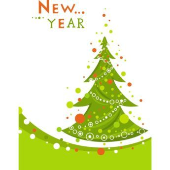 Vector Green Christmas grunge tree with new year text