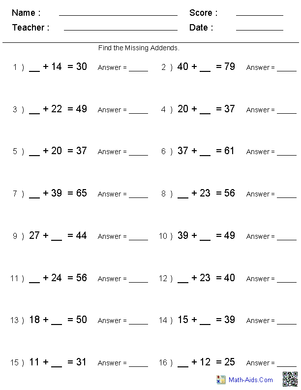 Addition Worksheets Dynamically Created Addition Worksheets Addition Worksheets Missing Addend Math Worksheets
