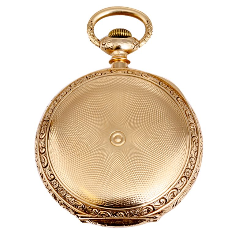 E. Howard & Co. Boston Highly Collectible Pocket Watch. Horse Grade, manual-wind movement; case and movement signed E. Howard & Co. 14k yellow gold engine turned case with deep ornate engrave on edge. Size N. (61mm diameter) Inner back engraved. White enamel dial with Roman numerals and seconds subdial.